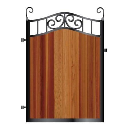 Metal Framed Timber Path Garden Gate 002