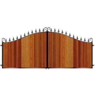 Short Metal Framed Timber Driveway Gates