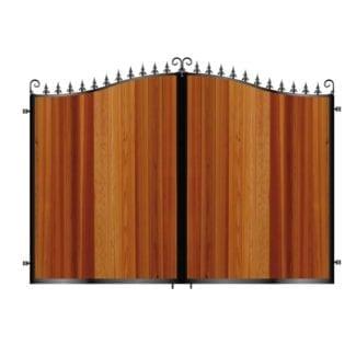 Tall Metal Framed Timber Driveway Gates