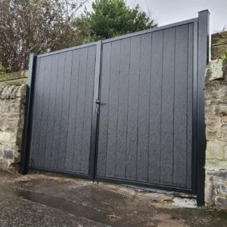 001 - hamilton - metal framed composite tall driveway gates